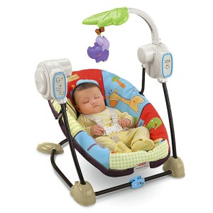 LUV U Zoo SPACE Saver PORTABLE 2 In 1 Musical BABY Swing