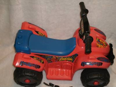 Awesome spiderman power wheels lil 39 quad 6 volt battery powered ride on very htf ebay - Quad spiderman ...