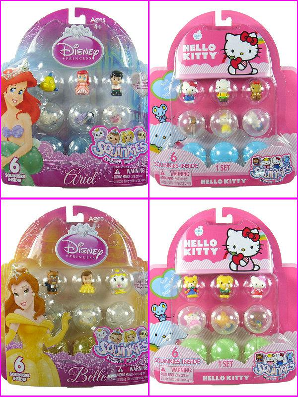 6PC Cute SQUINKIES Disney Princess Ariel Belle Cinderella Hello