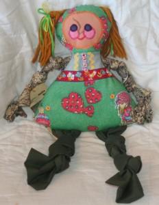 VTG KNOTTY GIRL Plush Doll Lisa Drumm Folk Art Rag NWT