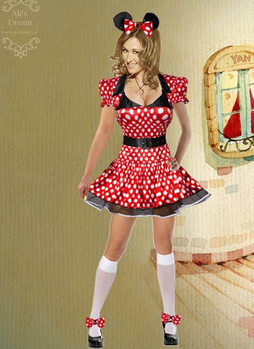 b015 sexy mickey maus karneval kost m minnie kleid set ebay. Black Bedroom Furniture Sets. Home Design Ideas