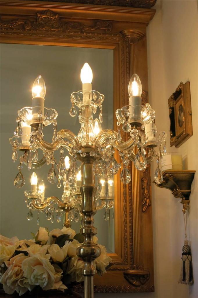 french provincial 5 arms crystal brass chandelier floor lamp vintage. Black Bedroom Furniture Sets. Home Design Ideas