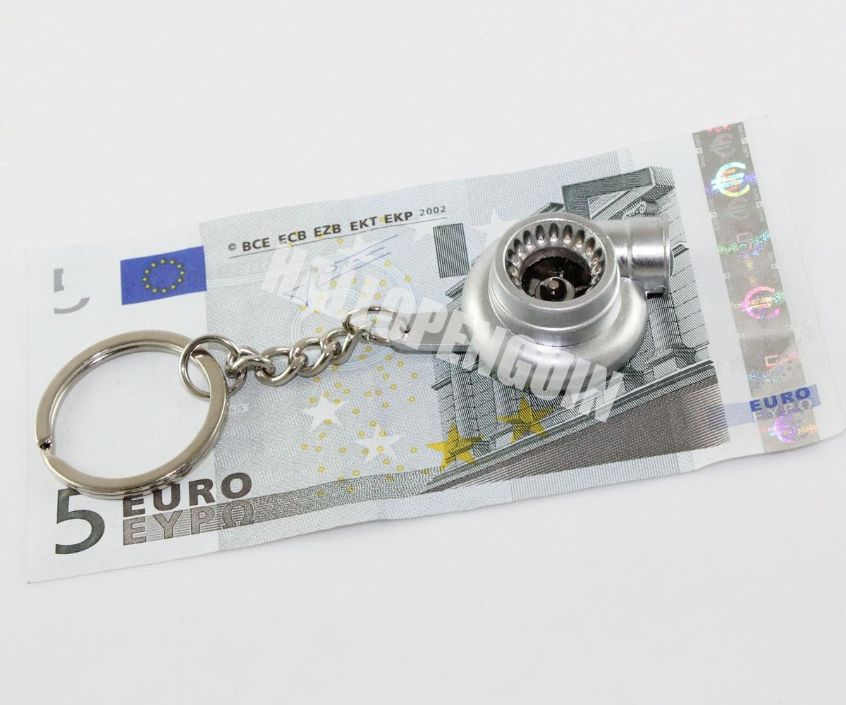 Turbo Keychain: Hot Metal Spinning Turbo Keychain Ring Silver Color