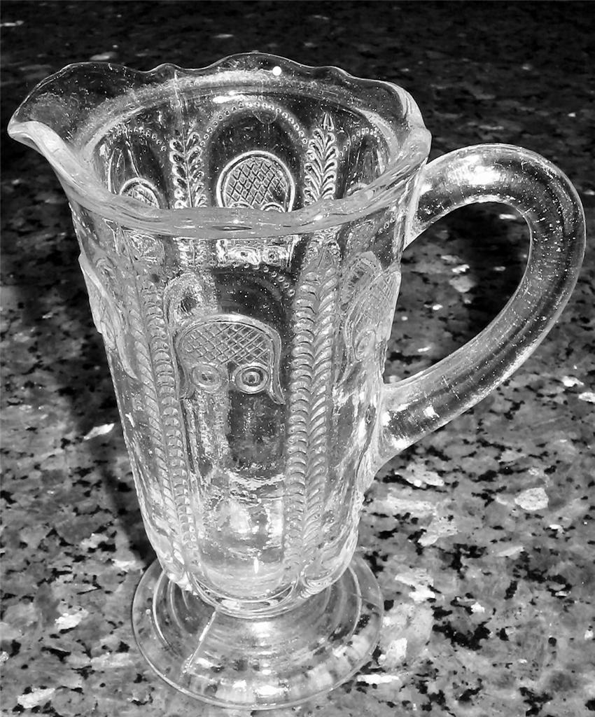 Rare vintage depression cut glass sauce jug owl for Most valuable depression glass patterns