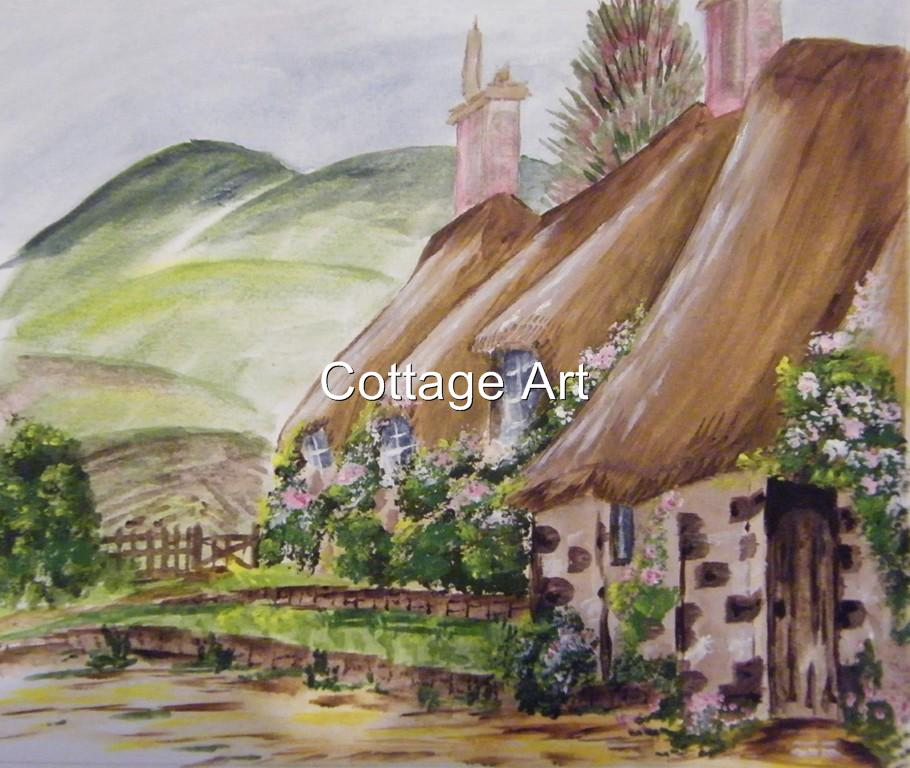 ART-Signed-Original-Acrylic-Painting-Country-Cottage-Garden-by-Therese-Vahland