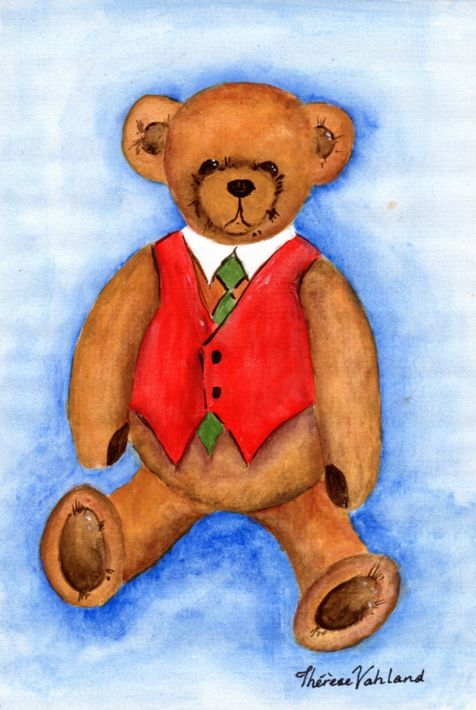ART-TEDDY-BEAR-Signed-Original-Watercolour-Painting-for-Nursery-Children-Baby