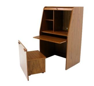 danish mid century modern roll top teak desk cabinet w concealed bench seat ebay. Black Bedroom Furniture Sets. Home Design Ideas