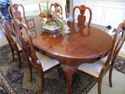 Cherry Dining Furniture On Queen Anne 8ft Oval Cherry Dining Set 6 Dining  Chairs Ebay