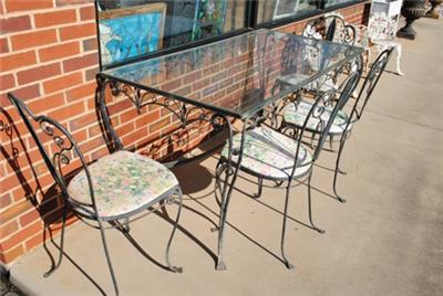 Wrought Iron Patio  on Antique Wrought Iron Outdoor Patio Dining Table   Chair Set  1950 S