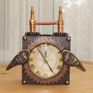 Steampunk clock desk shelf mantle working unique handmade cogs gears ebay - Steampunk mantle clock ...