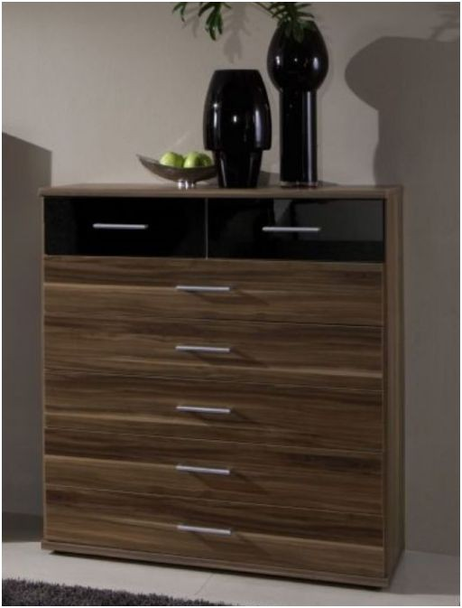 Chest Of Drawer High Gloss Black And Walnut Bedroom Furniture EBay
