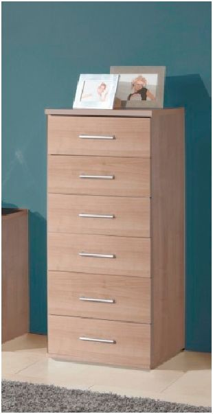Genoa 6 Drawers Narrow Chest Of Drawer Bedroom Furniture Nocce Oak Effect NEW