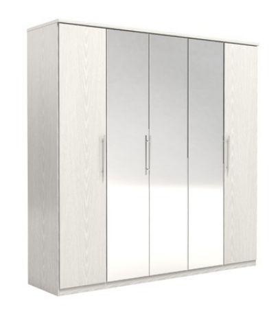 New Prague 5 Door Wardrobe Cupboard Ash White Effect