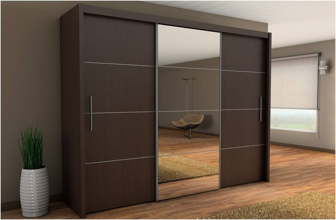 Inova sliding door wardrobe cupboard espresso wenge effect for Sliding cupboard doors