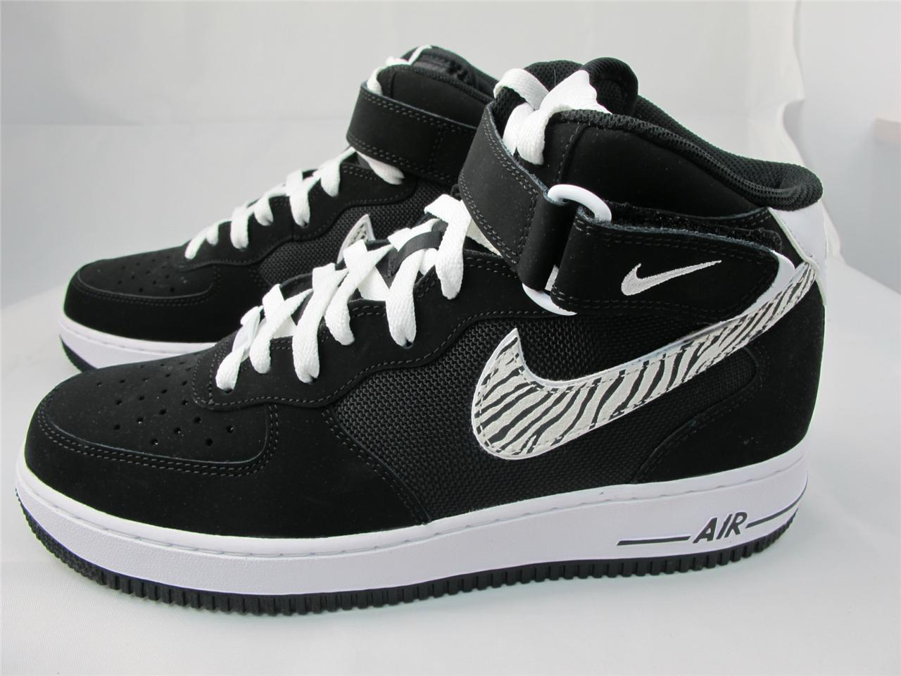 new men 39 s nike air force 1 mid 315123 017 black white ebay. Black Bedroom Furniture Sets. Home Design Ideas