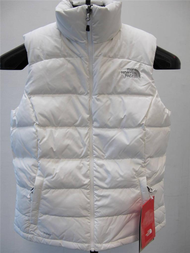 Womens white puffer vest with fur hood