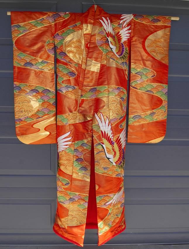 VINTAGE JAPANESE NISHIJIN SILK EMBROIDERED WEDDING KIMONO - UCHIKAKE - 1950s | EBay