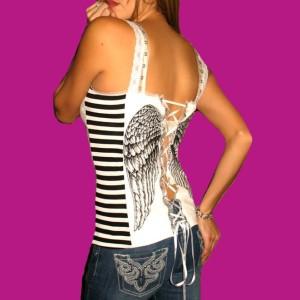 Demi Loon DIY Angel Wings Striped Tattoo Raver Punk Sexy Corset Top x