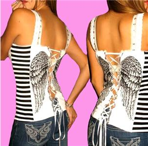 Demi Loon DIY Angel Wings Striped Tattoo Raver Punk Sexy Corset Top x