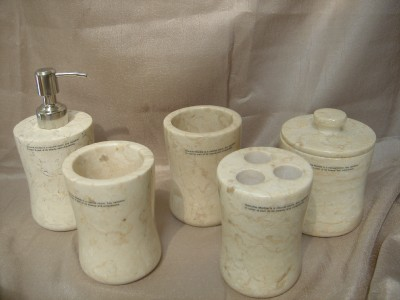 Genuine marble bathroom accessory set cream peach 5pc ebay for Peach bathroom set