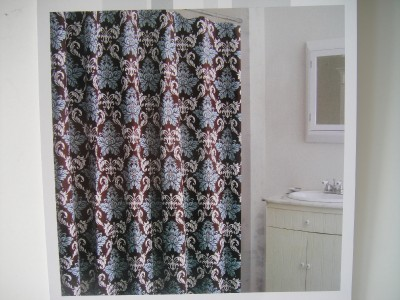 Grammercy Damask Shower Curtain Brown Turquoise White