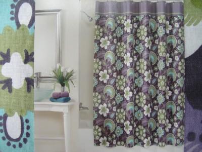 peri bohemian chic floral fabric shower curtain purple ebay. Black Bedroom Furniture Sets. Home Design Ideas