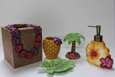 tropical floral bath accessories 5pc ebay