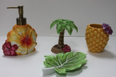 tropical floral bath accessories 4 pc ebay