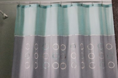 PERI WOODLAND CIRCLES FABRIC SHOWER CURTAIN AQUA GRAY EBay
