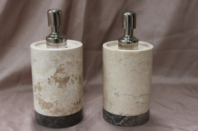 Genuine marble 2 tone bathroom accessory set champagne for Charcoal bathroom accessories