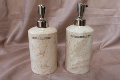 Genuine marble bathroom accessory set cream beige peach for Peach bathroom set