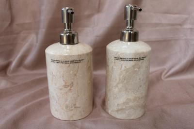 Genuine marble bathroom accessory set cream beige peach for Peach bathroom accessories