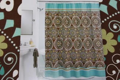 peri tahiti tile fabric shower curtain brown aqua
