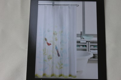 HILLCREST PARADISE BIRDS EMBROIDERED SHOWER CURTAIN TEAL ORANGE GREEN WHITE