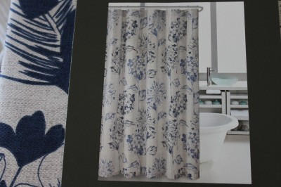 HILLCREST LARGE FLORAL FABRIC SHOWER CURTAIN ROYAL BLUE