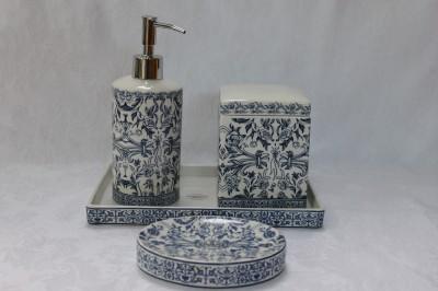 Kassatex Orsay Fine Porcelain Bath Accessories Set Blue White 4pc Ebay