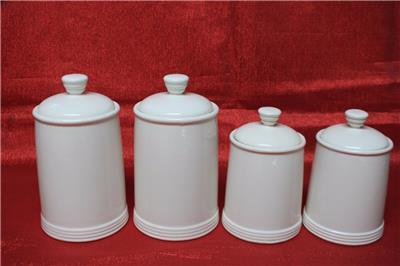 thl ceramic canister set flour coffee tea sugar white 4pc new ebay