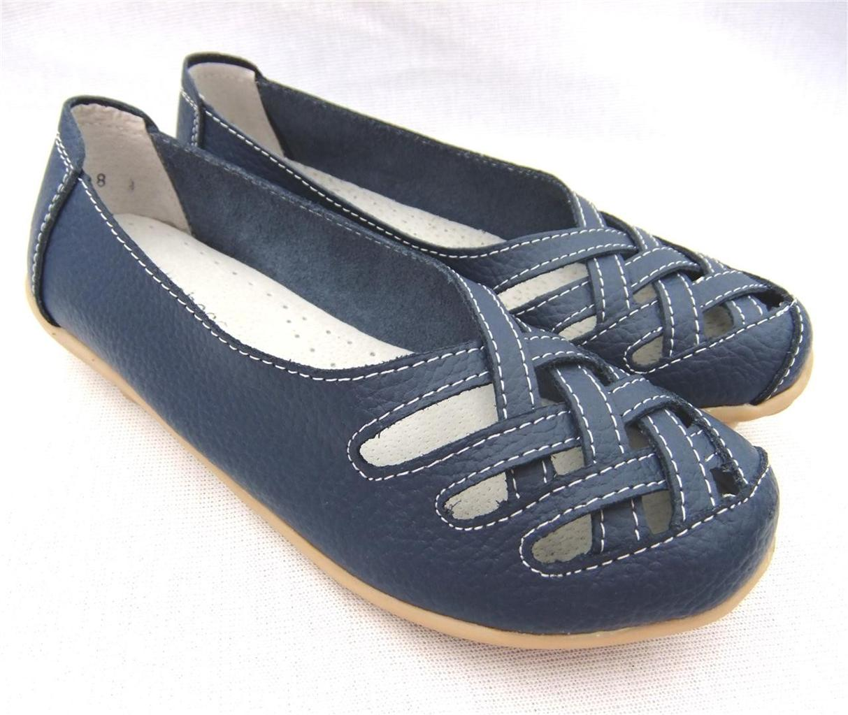 WOMENS-Ladies-Sz-7-8-9-10-BLUE-Soft-LEATHER-FLATS-Ballet-Comfort-SHOES-Work-WALK