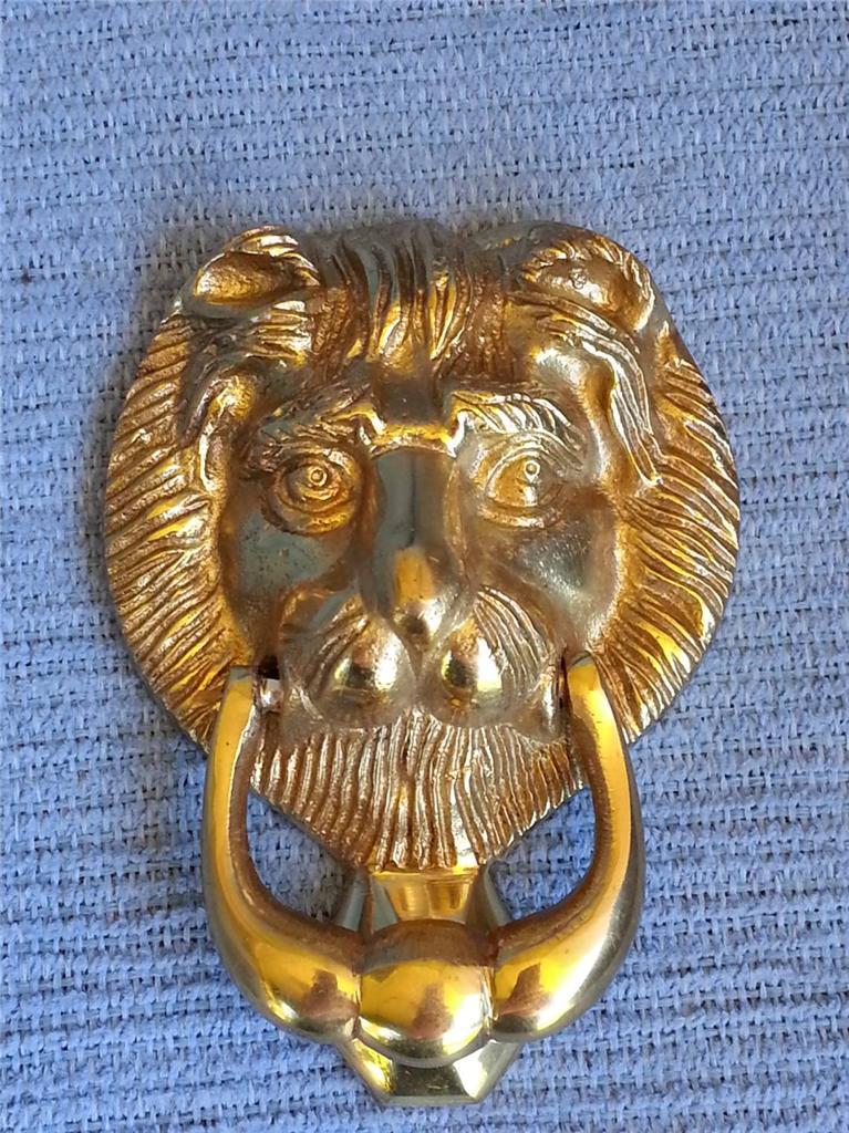 Solid brass small lions head door knocker rrp 35 ebay - Lion face door knocker ...