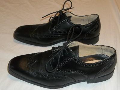 JOSEPH ABBOUD Black Leather Wing Tip Brogue Oxfords Shoes Men's Sz 9.5