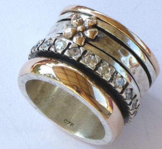 Meditation ring spinner ring silver 9 ct rose gold wedding bague