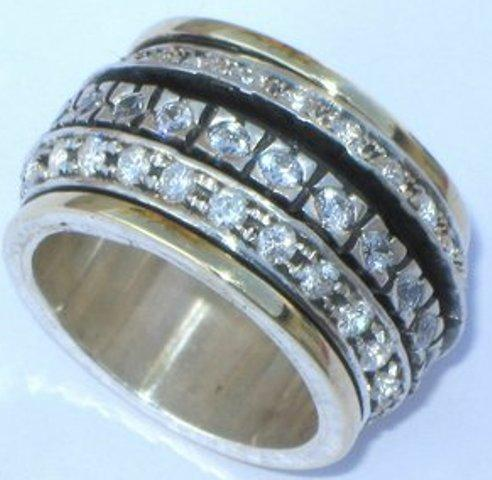 Israeli Wide Band Woman Spinner Ring Flower Silver Gold