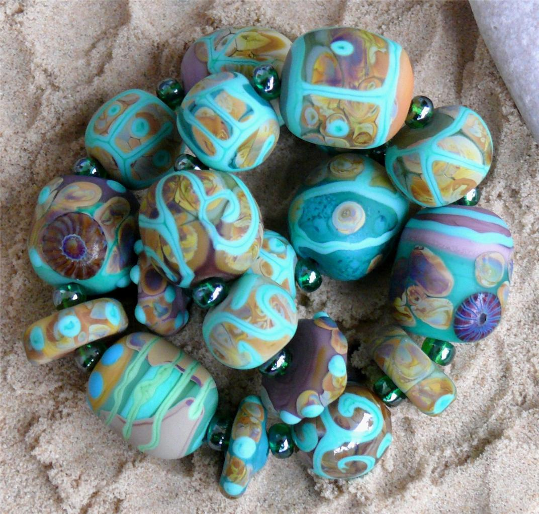 Glass-Artisan-Organic-Lampwork-Beads-Glasperlen-034-Dragon-Eggs-034