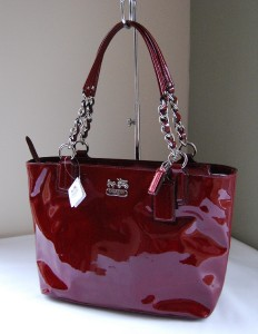 coach gray patent leather handbag  leather: patent leather