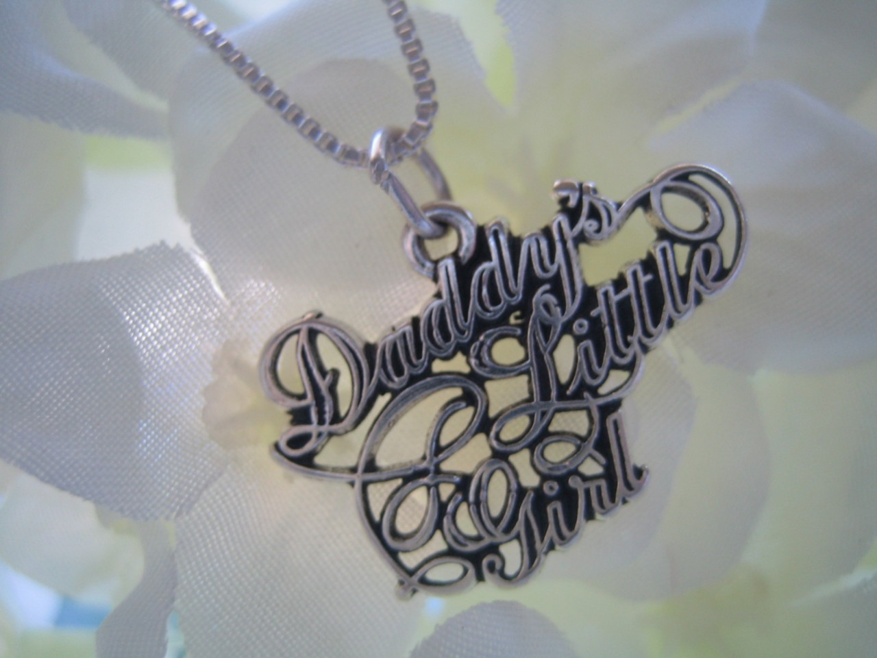 Sterling Silver Daddys Little Girl Charm Pendant Necklace with 1mm