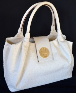 KATE SPADE STEVIE CLOTTED CREAM BEXLEY $425 OSTRICH PRINT PURSE BAG