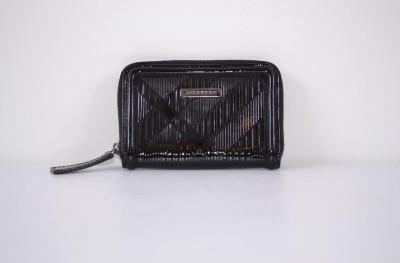 Burberry Burnham Black Nova Check Leather Zip Around Coin Purse Wallet