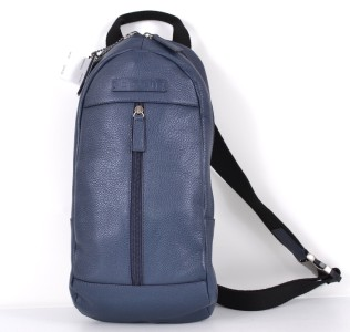 ... MEN'S F70691 CAMDEN BLUE PEBBLED LEATHER BACKPACK MESSENGER SLING BAG