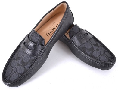 NEW COACH MEN'S Q907 SIGNATURE C BLACK & GRAPHITE NEAL LOAFERS SHOES