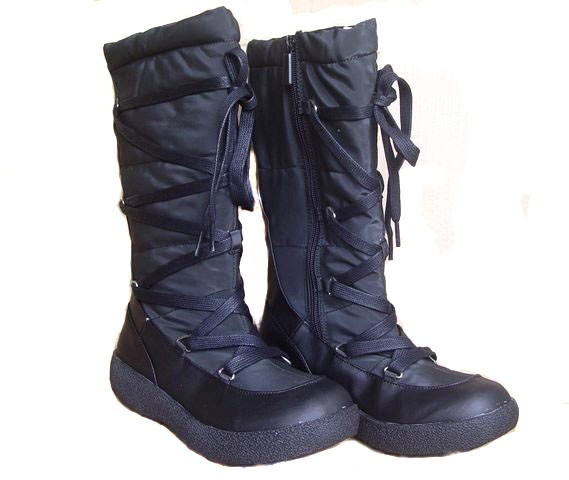 NWT-Ladies-Black-Snow-Boots-Size-US-6-7-8-9-10